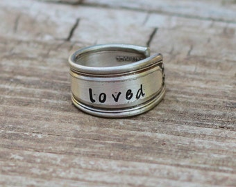 Loved Spoon Ring, Posey Ring, Hand Stamped, Custom Size