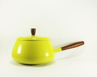 Vintage Chartreuse Yellow Fondue Pot made in Japan, Vintage Metal Fondue Pot, Chartreuse and wood Fondue Pot