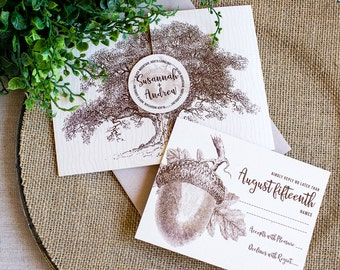 Oak and Acorn Folder wedding invitation - woodland wedding - autumn wedding invitation - pocket folder - rustic wedding - oak tree invite
