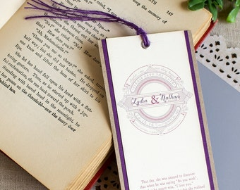 Fairy Tale Save the Date Bookmark - Vintage story book save the date - literary wedding - literary save the date - library wedding - purple