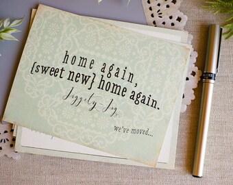 Change of Address Post Cards set of 10 Aqua Blue Watercolor Lace Home Again Home Again Jiggety Jog
