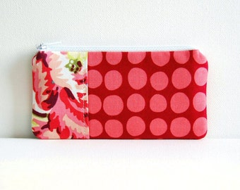 Zipper Pouch, Coin Purse, Women and Teens Gift, Sunspots in Wine, Amy Butler Love Fabrics