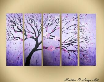 ORIGINAL Purple Painting Multi Panel Original Canvas Artwork Cherry Blossom Flowers Japanese Inspired Contemporary Style Zen Trees Nature