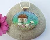 Cottage and Sheep Necklace Felt Handmade Jewellery