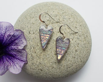 Earrings Iridescent Lilac Hearts