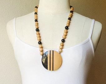 Vintage Domed Wood Pendant Necklace, Black and Natural Light Wood Necklace, Bold Statement Necklace, Striped Inlay Wood Jewelry