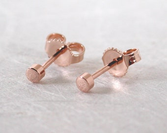 Petite Gold Stud Earrings Tiny 14k Pink Gold Posts 2.5mm Modern Romantic Rose Gold Jewelry by Susan Sarantos