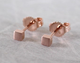 2.5mm 14k Square Rose Gold Studs Small Brushed Gold Earrings Minimal Studs by Susan Sarantos