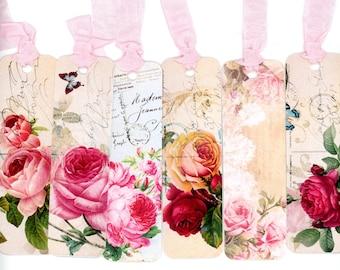Bookmarks , Rose Bookmarks , Vintage Style Bookmarks , Pink Bookmarks , Pink Roses , Red Roses , Vintage Postcard Bookmarks