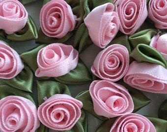 "Pink Ribbon Roses, 2 Dozen (24) Handmade 12mm (1/2"") Ribbon Roses in Ballerina Pink"