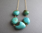 Turquoise Nugget Necklace on 14K Gold Fill