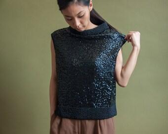 60s sequin bead collar knit sheath top / mod beaded top / beaded sweater / s / m / 1490t