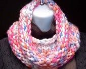 OOAK Pastel Rainbow Sunset Hand Knitted Optim Merino Wool Cowl Uber Soft and Warm Purple Blue Pink Coral
