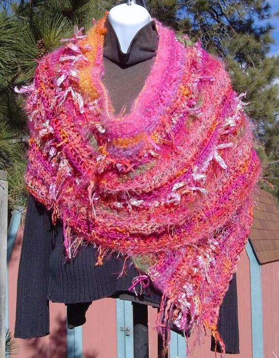 ON SALE Rocky Mtn Sunrise Hand Crocheted OOAK Split Rock Ranch Original Design Shawl Wrap Wool Mohair Silk Nylon Boucle Beaded Ribbon Yarn