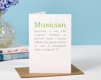 Musician Definition Card - gift for musician - card for a musician - birthday card for musician - music graduation card - music lover card