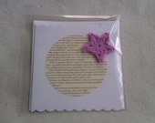 A Christmas Carol Literary Greeting Card - mauve crochet star