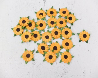 Die cuts paper flowers - 50 1 inch paper sunflower embellishments (2 layers)