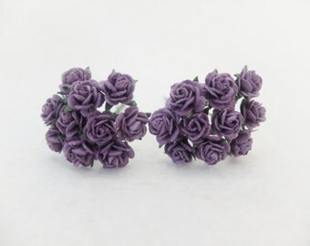 20 10mm dark purple paper roses with wire stems - purple paper flowers - 1cm paper roses