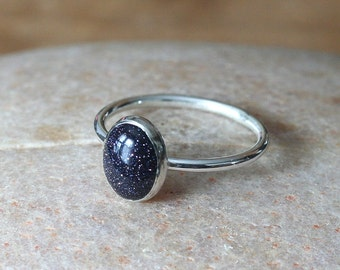 Blue Goldstone Stacking Ring, Sterling Silver Gemstone Ring, Size 2 to 15, Womens Jewelry, Stacker Ring, Small Stacking Ring, Solitaire Ring