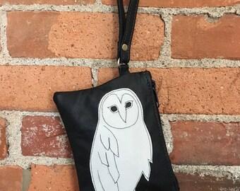 Barn Owl Wristlet Black Leather