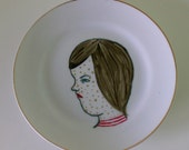 Spotted Gold Hand Painted on Recycled Plate by Allyson