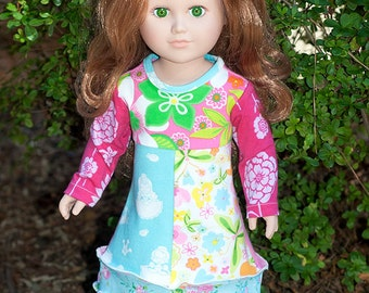 American made doll dress, 18 inch or 23 inch doll clothes, long sleeve jersey doll dress, colorful patchwork doll clothes, gift little girl