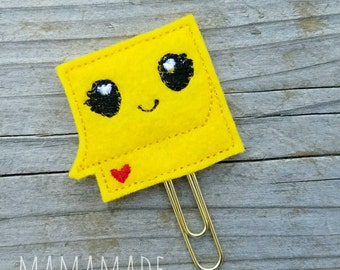 Sticky Note Feltie - Planner Clip, Magnet or Hairclip (bookmark, planner or journal clip)