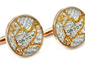 London Cufflinks  Bronze Antique England Map Vintage Globe Cuff Links United Kingdom