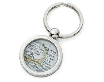Cape Cod Keychain Map Key Ring Fob Vintage  Atlas  by sherrytruitt