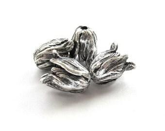 Antiqued Silver Tulip Flower Bead Caps, 11mm x 9mm - 2 pieces