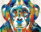 Chimp Art PRINT Colorful Animal Rainbow Zoo Primary Color Funny Freaky Chimpanzee Monkey Toy Play Adult Primate CANVAS Africa African Jungle