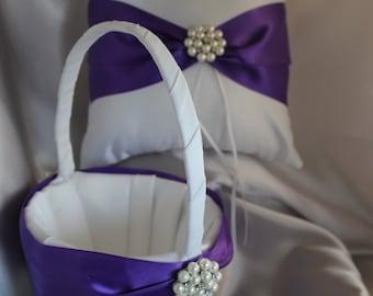 Larger-White or Ivory or Silver/Gray Flower Girl Basket- Ring Bearer Pillow- Regal Purple Satin Ribbons, Rhinestones-Custom Color Ribbons