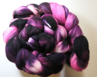 Hand Dyed Superwash Merino Combed Top, Spinning Fiber, Roving -- Wild Rose and Blackberry (135 grams or 4.75 ounces )