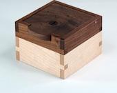 Keepsake Box, Wooden Ring Box, Knotty Walnut, Maple Hardwoods