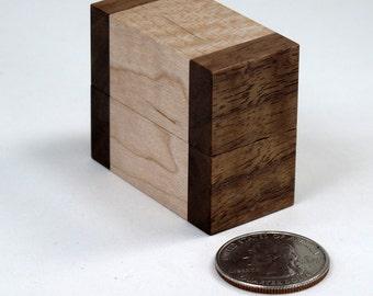 Engagement Ring Box, Wedding Ring Box, Maple, Walnut, Single Ring Box, Double Ring Box