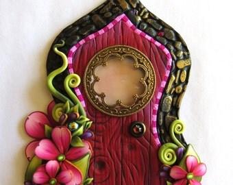 Red and Pink Fairy Door, Fairy Garden Decor, Tooth Fairy Door with a Window