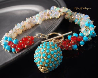 Ethiopian Opal, Turquoise, and Mexican Fire Opal Ombre Charm Bracelet