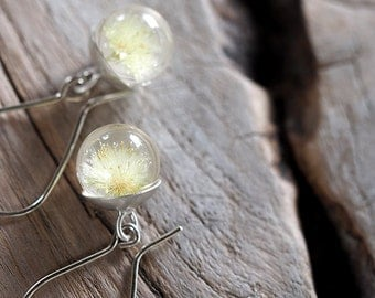 Mini Dandelion Resin and Silver Earrings, Floral resin Earrings