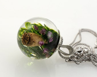 Green Moss, Poppyhead  and Heather Pendant, Medium Resin Round with Sterling Silver Chain, Forest Theme, Botanical Jewelry