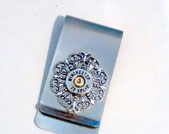 Girl ladies money clip  credit card holder reciept holder winchester 38 special filigree cowgirl