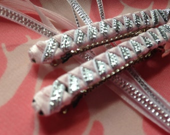 Braided Ribbon Barrettes / Set of Two in Light Pink/Silver
