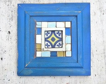 Reclaimed Wood Framed Tile, Rustic Wall Decor, Reclaimed Wood Wall Art, Salvaged Wood Decor, Framed Talavera Tile, Architectural Salvage Art