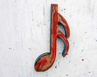 Musical Note, Sixteenth Note, Music Decor, Bohemian Decor, Music Note Wall Art, Musicians Gift, Boho Decor, Musician Gift, Wood Wall Decor
