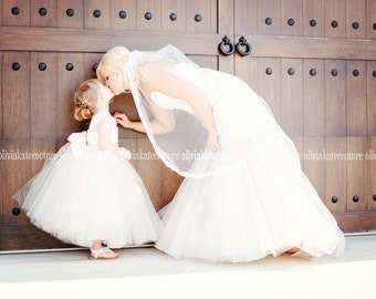 Flower Girl Dresses, Ivory dresses, tutu dress, tulle dress, ankle length, frock, ivory white
