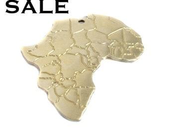 Brass Flipped Africa Pendants (4x) (V364) SALE - 25% off
