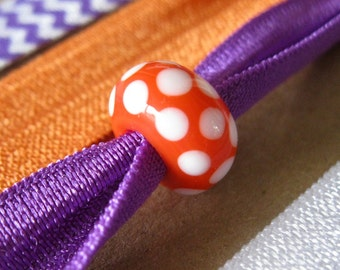 Beaded Orange and Purple Clemson Colors Ponytail Holders