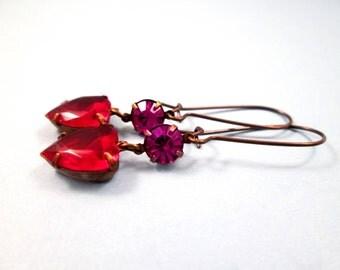 Heart Earrings, Pink and Red Glass Rhinestone Earrings, Brass Dangle Earrings, FREE Shipping U.S.