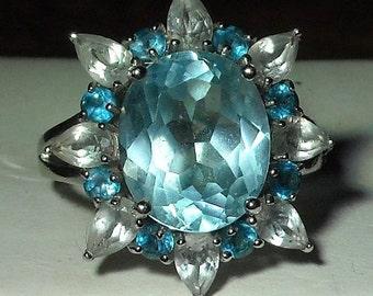 Swiss Blue Topaz - London Blue Topaz - White Topaz -Ring - Sterling Silver - Starburst - Lovely!