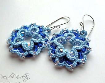 Lace earrings blue beaded tatting with Swarovski crystals