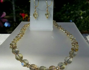 Golden Topaz Crystal Disks Necklace and Earrings
